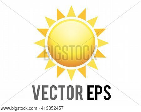 The Vector Gradient Shinny Orange Sun Icon With Eight Triangularrays, Represent Sunny, Warm, Hot Wea