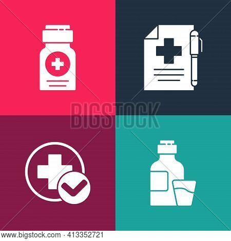 Set Pop Art Bottle Of Medicine Syrup, Cross Hospital Medical, Medical Prescription And Pen And Medic