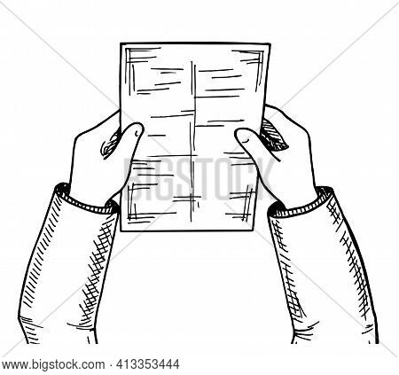 Hands With Sketch Sheet. Top View Hands With Sheet Of Paper, Document. Business And Office Sketch Wi