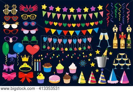 Birthday Party Isolated Elements Set With Colorful Presents Fairy Lights Flags Balloons And Sweets S