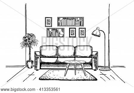 Linear Sketch Of An Interior. Hand Drawn Vector Illustration Of A Sketch Style. Vector Furniture Ill