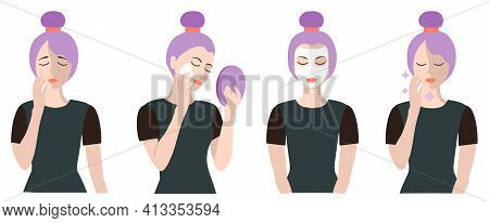 Facial Cleansing Process. Set Of Fresh, Beautiful Woman In Process Of Washing Face. Acne Treatment B