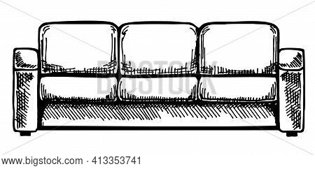 Sofa Isolated On White Background. Illustration In A Sketch Style. Linear Sketch Of An Interior. Han