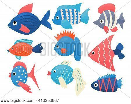 Fancy Fish Set Vector Cartoon Illustration For Kids Decor