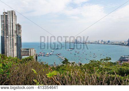 View Of Pattaya Viewpoint From Pratumnak Hill. Pattaya City Skyline In Chonburi Thailand