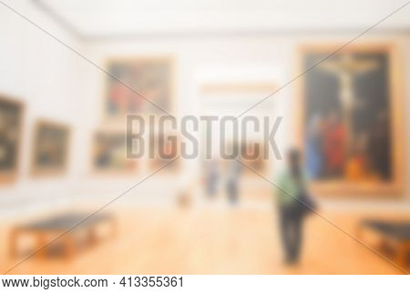 Blurry Abstract Backgroud, People Or Tourist Visit Big Museum Gallery In Europe .travel And Holiday