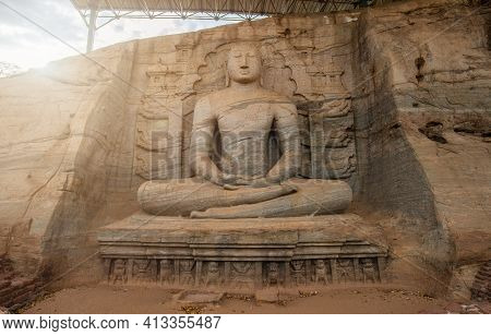 Beautiful Sitting Buddha At Gal Vihara. This Is An Unusual Feature In Ancient Sinhalese Sculpture In