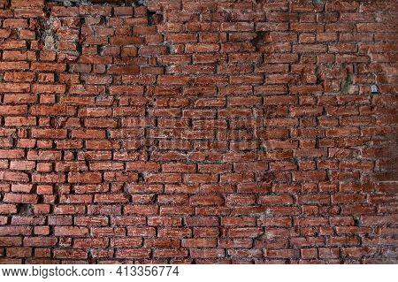Red Brick Background. Wide Old Red Brick Wall. Pattern Design Texture. Red Brick Patern. Modern Desi