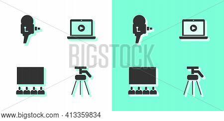 Set Tripod, Retro Cinema Camera, Cinema Auditorium With Screen And Online Play Video Icon. Vector