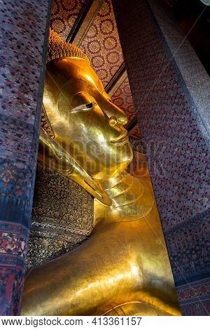 Bangkok, Thailand - January 19, 2019: Lying Buddha In Wat Pho Temple. Royal Grand Palace  In Bangkok