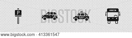 Set Parking, Hatchback Car, Taxi And Bus Icon. Vector