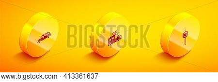 Set Isometric Hatchback Car, Tv News And Road Traffic Signpost Icon. Vector
