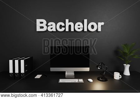 Clean Office Workspace With Computer Screen And Dark Concrete Wall; Bachelor Lettering; 3d Illustrat