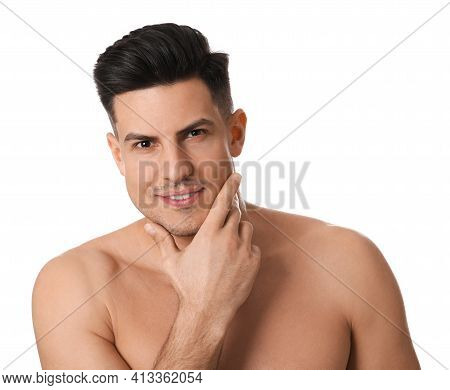 Handsome Man With Stubble Before Shaving On White Background