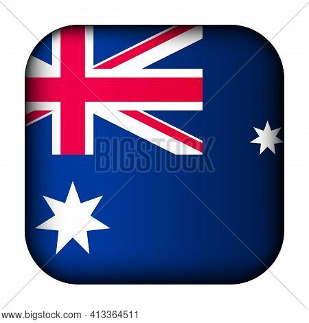 Glass Light Ball With Flag Of Australia. Squared Template Icon. Australian National Symbol. Glossy R