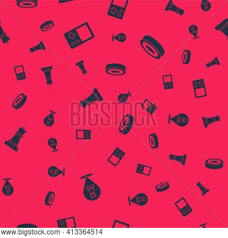Set Chess, Tetris, And Checker Game Chips On Seamless Pattern. Vector