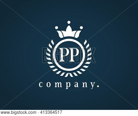 Letter Pp, P Calligraphic And Crown Monogram. Floral Elegant Beautiful Round Identity. The Vintage E