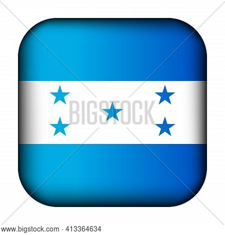 Glass Light Ball With Flag Of Honduras. Squared Template Icon. National Symbol. Glossy Realistic Cub