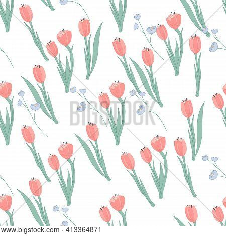 Seamless Cute Pattern With Tulips And Forget-me-nots Flowers, Flat Vector Illustration On White. Dec