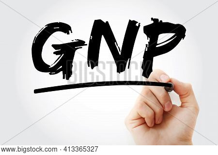 Gnp - Gross National Product Acronym With Marker, Concept Background