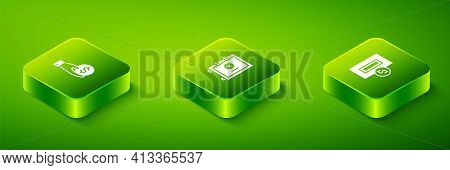 Set Isometric Safe, Inserting Coin And Hand Giving Money Icon. Vector