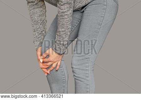 Woman Having Knee Pain. Pain In A Knee In A Woman