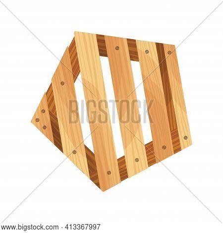 Wooden Pallet. Platform For Freight Transportation. Warehouse Platform On White Background. Cartoon