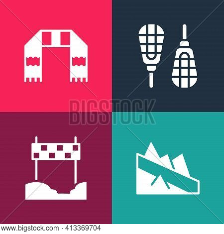 Set Pop Art Mountain Descent, Ribbon Finishing Line, Snowshoes And Winter Scarf Icon. Vector