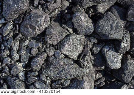 Large Shiny Lumps Of Coal. Mineral, Mineral Fuel For Home Stoves And Boilers In A Country House. Nat