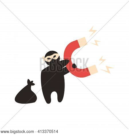 Idea Robber Holds Magnet, Draw Light Bulbs To Steal Thought, Plagiarism Vector Illustration