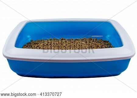 Cat's Litter Box With Filler Isolated On White Background