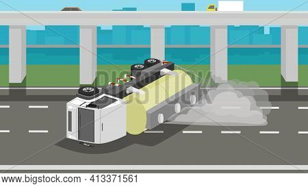 Accident Of Chemical Truck Crashes On The Road And Chemicals Have Leaked By Smoke From The Tank. Obs