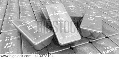The Highest Standard Platinum Bars. Lots Of Ingots Of 999.9 Fine Platinum Lie In A Row. Background.