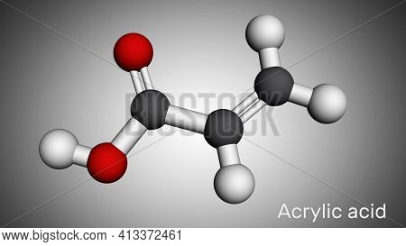 Acrylic Acid, Propenoic Acid Molecule. It Is Unsaturated Monocarboxylic Acid. Molecular Model. 3d Re
