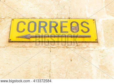 Manacor, Spain; March 18 2021: Close-up Of An Old Poster Of The Company Sociedad Estatal De Correos
