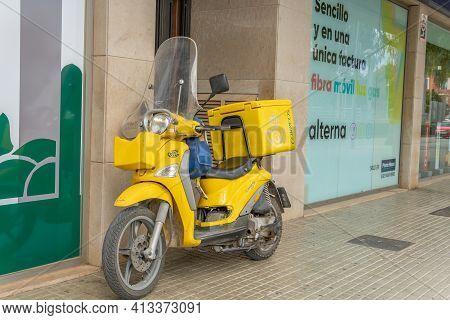 Manacor, Spain; March 18 2021: General View Of A Motorcycle Of The Company Sociedad Estatal De Corre