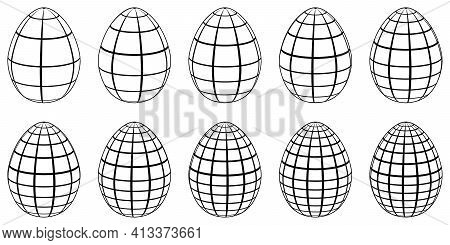 Set Of 3d Eggs With Horizontal And Vertical Lines, Meridians And Parallels, Vector 3d Eggs Stylized