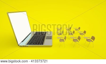 E-learning Online Education Concept. School Desks And Laptop. Home Quarantine Distance Learning. 3d