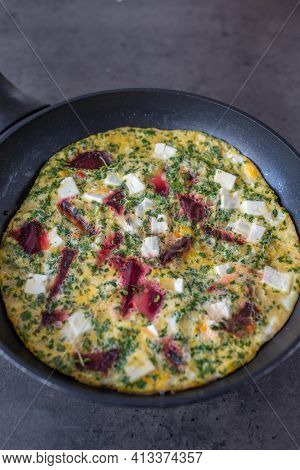 Spring Food; Healthy Frittata With Beetroot And Cheese