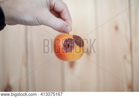 Close-up Of A Human Hand Holding A Slightly Degraded Apple, Isolated On A White Background With A Co