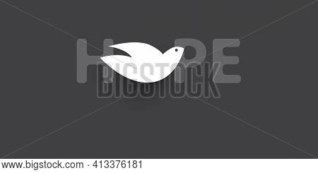 Hope - Lettering With Peace Pigeon - Vector Design Concept
