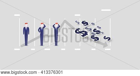Business Trends Reversing Design Concept -  Chart And Businessmen Wearing Face Masks Holding Their H