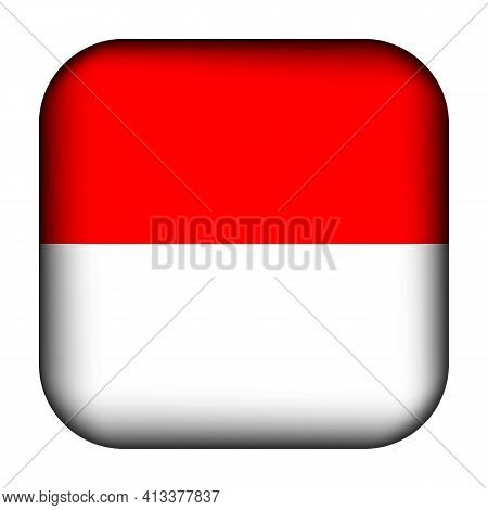 Glass Light Ball With Flag Of Indonesia. Squared Template Icon. Indonesian National Symbol. Glossy R