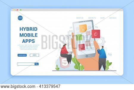 Concept For Hybrid Mobile Apps Using Css And Html With Smartphone Screen With App Icons Flanked By W