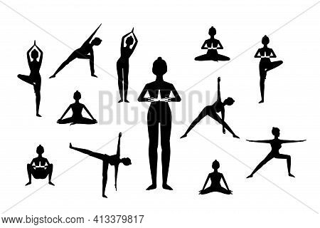 Set Of Woman In Different Yoga Poses, Names Of Asanas Text, Flat Style Vector