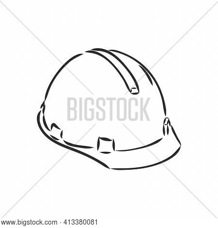 Engineer Helmet Hand Drawn Outline Doodle Icon. Hard Hat Vector Sketch Illustration For Print, Web,