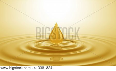 Drop Of Oil Falls Onto The Surface Of The Oil. 3d Illustration