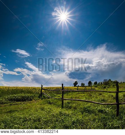 Spring Rapeseed Yellow Blooming Fields View, Blue Sky With Clouds And Sunshine. Natural Seasonal, Go