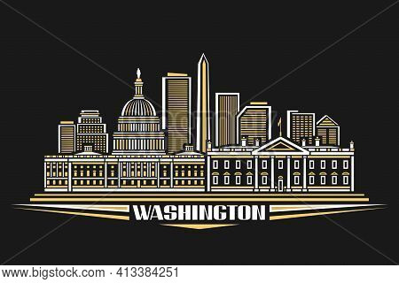 Vector Illustration Of Washington, Horizontal Poster With Outline Design Illuminated Washington City