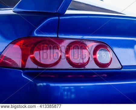 View Of A Car Headlight, Close Up Ofa Sports Car Headlight